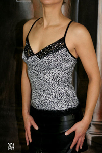 "Damen Top ""Leopard"" (Grau)"