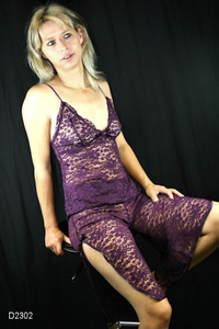 Ladies Pyjama with lace (Purple)