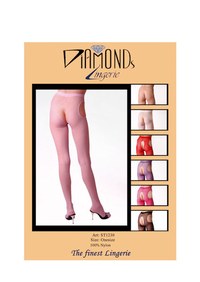 Ladies Open Crotch Tights (Pink)