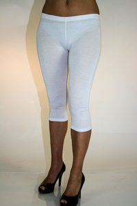 Ladies 3/4 Leggings (White)