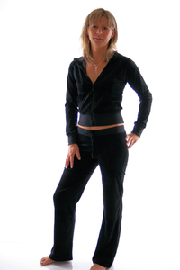 Ladies Homewear Suit made of plush (Black)