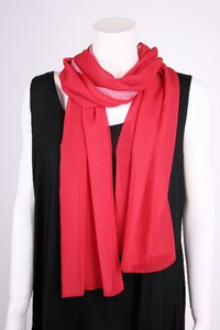 chokri Big Size Ladies Chiffon Scarf (Red)