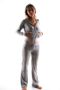Ladies Homewear Suit made of plush (Grey)