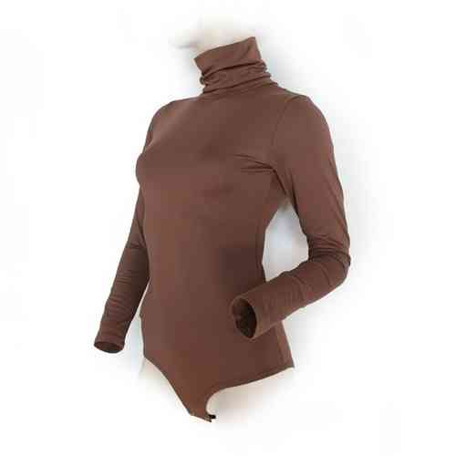 "Ladies Bodysuit with Roll Neck ""Yvonne"" (Brown)"