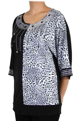 "chokri Big Size Ladies Shirt ""Black & White"" (48-60)"