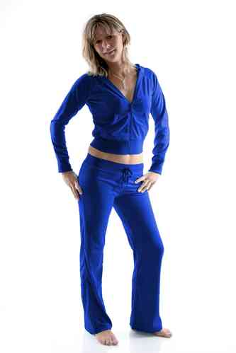 Ladies Homewear Suit made of plush (Royal blue)