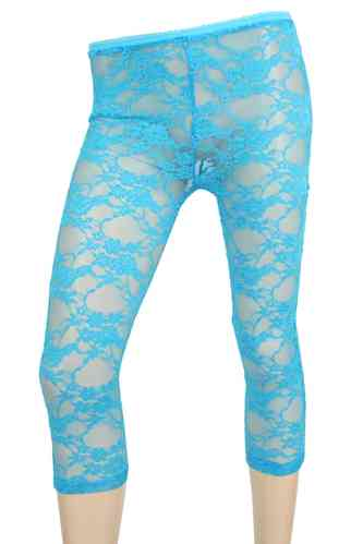 "Dames legging met kant ""Rose"" (turkoois)"