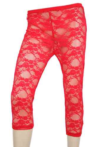 "Ladies Leggings with lace ""Rose"" (Red)"